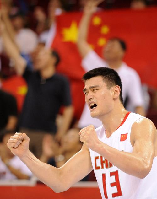 图文-[奥运]中国男篮VS德国 姚明打的非常兴奋