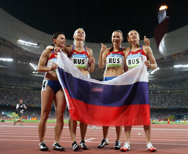 图文-[奥运]女子4X100米接力 俄罗斯姑娘庆祝冠军