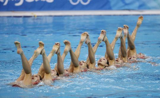 花样游泳集体赛俄罗斯夺金