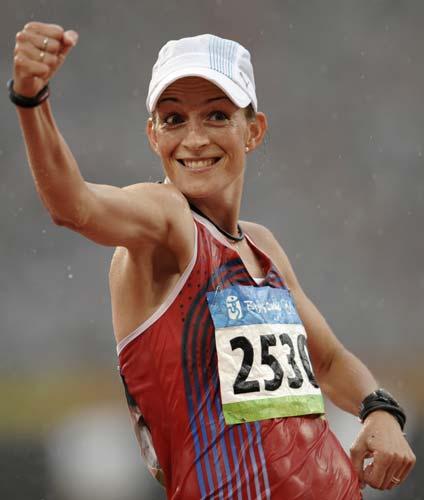 图文-女子20公里竞走决赛 得了银牌也很欣喜