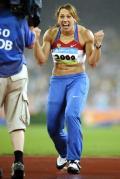 图文-女子标枪捷克选手夺冠 对着镜头很兴奋