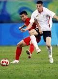 图文-中国国奥0-2不敌比利时 郑智未起核心作用