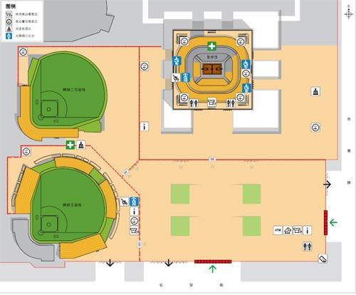资料图片:北京五棵松体育中心棒球场内部示意图