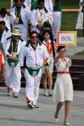 图文-玻利维亚奥运代表团举行升旗仪式 进入现场