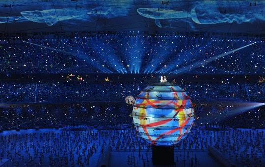 """图文-2008北京奥运会开幕式 美丽的""""地球"""""""
