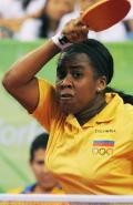 图文-乒乓球女单预赛 哥伦比亚运动员在比赛中