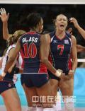 图文-[奥运会女排]中国队vs美国队 美国队庆祝得分