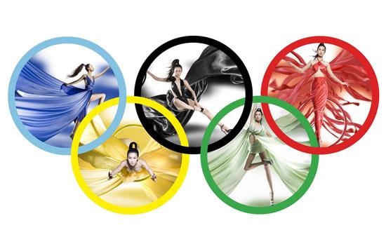 性感名模五彩演绎奥运五环