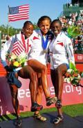 资料图片-美国奥运队参赛队员 女子100米栏前三名