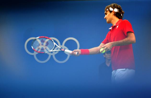 图文-奥运会网球比赛精彩瞬间回顾 天王有些疲惫