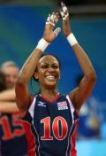 图文-中国女排2-3负美国女排 格拉斯庆祝胜利