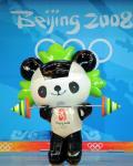 图文-福娃变奥运赛场健将 晶晶轻松举重