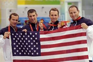 4x100混合泳接力美国夺冠菲尔普斯完成八金伟业