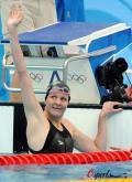 图文-女子100米仰泳半决赛 考文垂振臂欢呼