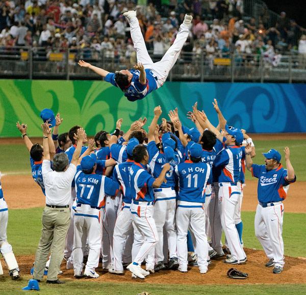 图文-[奥运]棒球韩国3-2古巴 韩国队夺冠欢天喜地