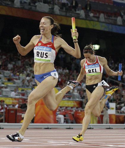 图文-女子4X100接力俄罗斯夺金 胜利时刻到来