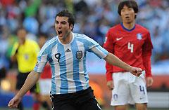 世界杯-梅西造2球伊瓜因帽子戏法阿根廷4-1韩国