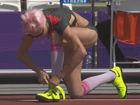 女子跳高现靓丽风景 粉发长筒袜享受奥运