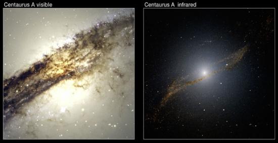 """左图显示的是半人马座A星系可见光图片,右图是半人马座A红外图片。右图可见一个被半人马座A吞食的星系所留下的四边形""""残骸""""。"""