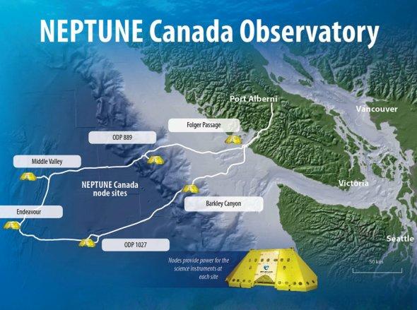 """""""海王星""""示意图:""""海王星""""网络横跨太平洋的一段海床,将帮助科学家了解地球海洋过程。电缆从温哥华岛西岸出发,穿过大陆架,置身深海平原之上同时向外延伸到活火山脊扩张中心(新洋壳形成的地方),最终形成一个回路。电缆分出的""""枝杈""""是5个节点,功能是充当输入中心,接收来自不同传感器和仪器获取的数据。"""