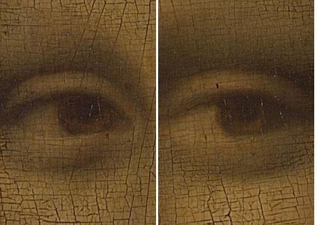 即使靠近观察,数字和字母也无法看到,必须借助显微镜才能让它们显现出来。