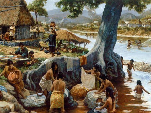 想象图:一个古代玛雅人村落的日常生活