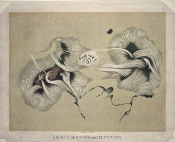 1875年6月17日,特鲁夫洛发现了太阳黑子并描绘下奇妙的黑子景象
