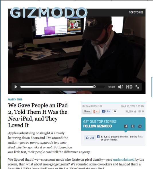 """面对Gizmodo编辑手中的iPad 2,多数""""果粉""""都误以为是苹果最新推出的第三代iPad"""