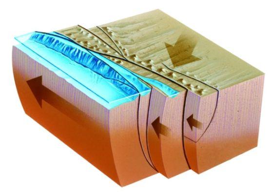 板块之间会水平滑动,使地壳发生垂直方向的断裂,形成走滑断层。
