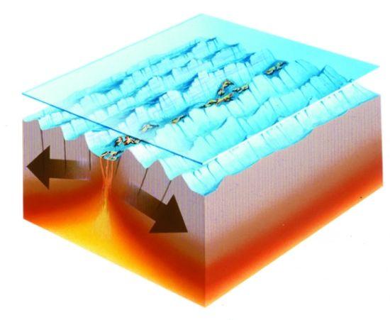 当海洋下方的构造板块慢慢向着互相远离的方向运动时,张裂运动就会发生。