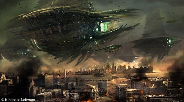 《抵抗:燃烧苍穹》中的画面,展现外星人入侵纽约的可怕景象