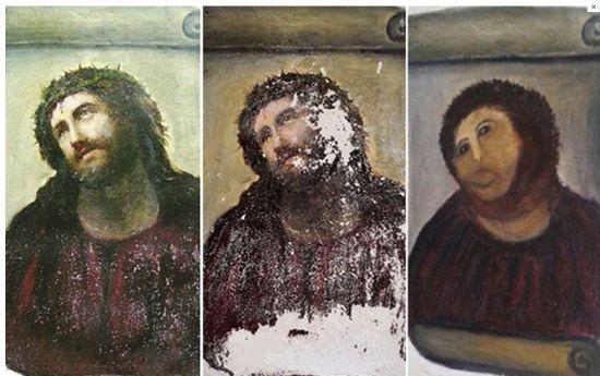 """西班牙老妇令""""戴荆冠耶稣""""面目全非"""