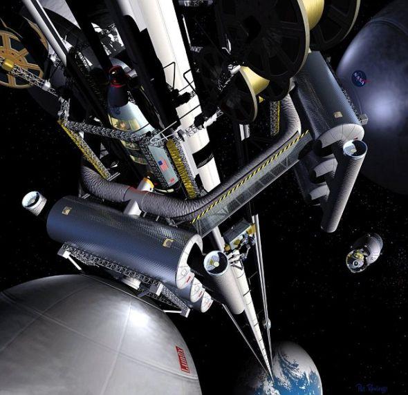 美国宇航局的太空梯概念,然而该局的一名前雇员认为,现在就能打造月球版本的太空梯