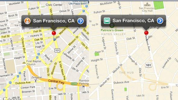 谷歌地图(左)与苹果地图对比
