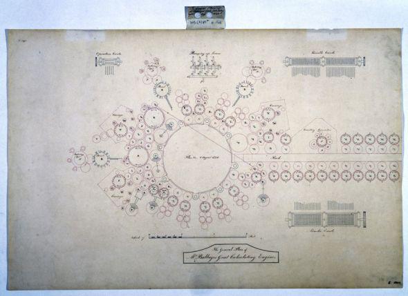 世界上第一台计算机的设计图纸。它由无数齿轮组成,由蒸汽机驱动