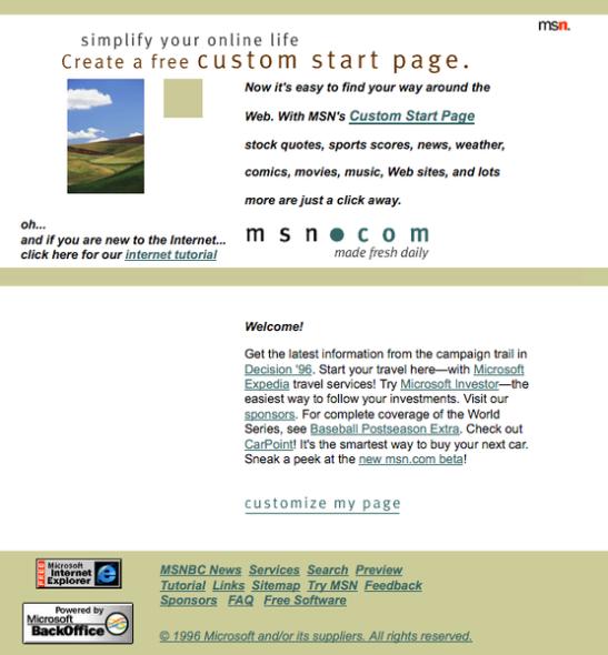 1996年的MSN网站