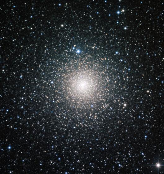 这幅照片由欧洲南方天文台(ESO)位于智利的拉希拉天文台的MPG/ESO2.2米口径望远镜拍摄,展示了处在中年的银河系球状星团NGC 6388。与所有球状星团一样,NGC 6388也拥有非常悠久的历史,球状星团的年代通常超过100亿年。科学家对NGC 6388内的明亮蓝星的分布进行研究后发现,这个星团以比较适中的速度走向衰老,其质量最大的恒星正向中央移动。一项利用欧洲南方天文台所获数据进行的新研究发现,相同年龄的球状星团内部蓝离散星的分布存在巨大差异,说明这种星团的衰老速度存在巨大差异