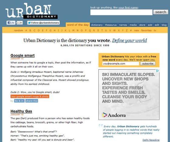 《城市字典》的主页。该网站是通俗语言知识库,包括很多独创的亵渎语言、侮辱性词汇和其他不文明用语