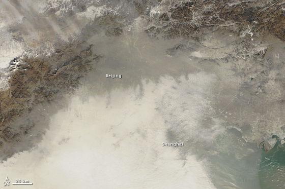 太空拍中国东北上空阴霾密布