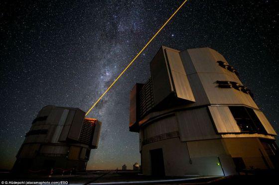 光束在高空生成的假星,可以用来校正受空气骚动干扰的图像,形成更加清晰的图片