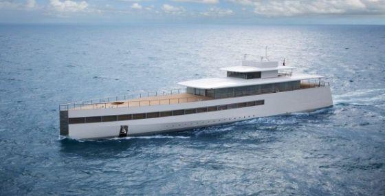 """苹果联合创始人史蒂夫・乔布斯(Steve Jobs)和法国设计师菲利普・斯塔克(Philip Starck)合作设计的游艇""""维纳斯号(Venus)"""""""