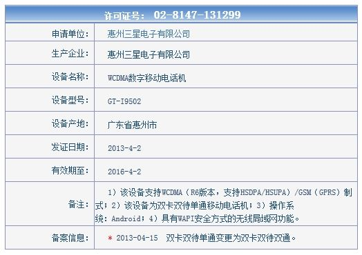 联通版Galaxy S4入网许可证,型号为GT-I9502