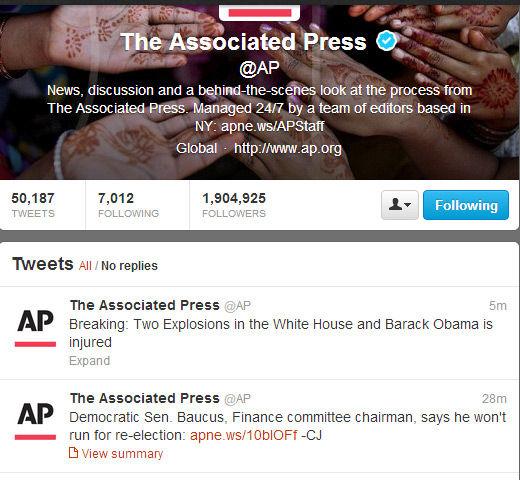 美联社官方Twitter账号被黑,发消息称奥巴马受伤