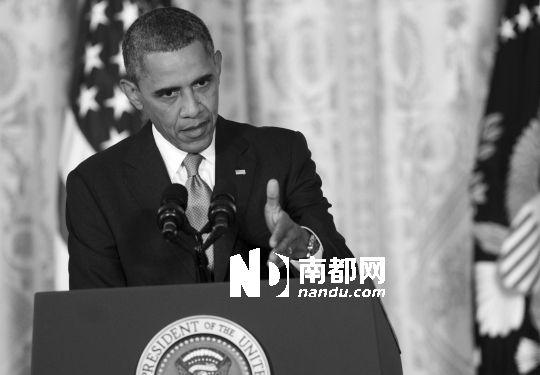 9日,美国总统奥巴马在白宫出席新闻发布会。