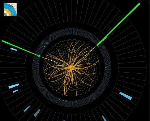 希格斯粒子在产生之后几乎瞬间就会衰变成两个光子,它们留下的路径(图中绿色),可以在这张来自CMS探测器的图像中观察到 图像来源:CERN,