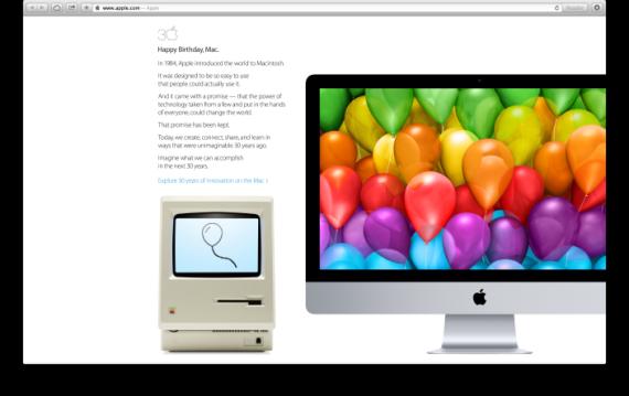 苹果公司周五在网站主页投放了巨幅图片,庆祝Mac电脑诞生30周年