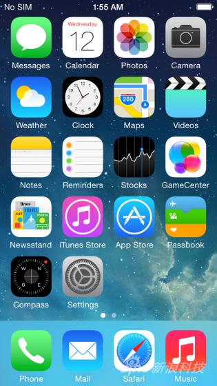 首屏界面与iOS 7相差无几