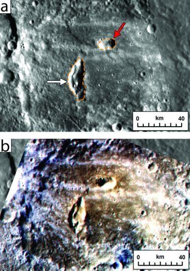 水星Kipling陨坑内的两个火山喷口,如果是在撞击发生之前出现的,就会被摧毁,由此可见它们是在近期才形成的;下方是同一地点的假彩色图像,可以识别出火山溅射物的痕迹