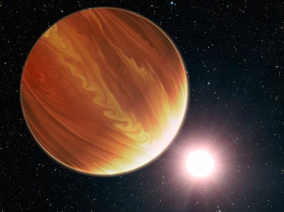 艺术示意图:位于飞马座的系外行星HD 209458b。让天文学家们倍感意外的是,这些系外行星的大气含水量似乎远低于理论预期