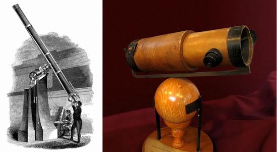 左:1848年建成的辛辛那提天文台折射望远镜 右:牛顿第一架6英寸望远镜的复制品